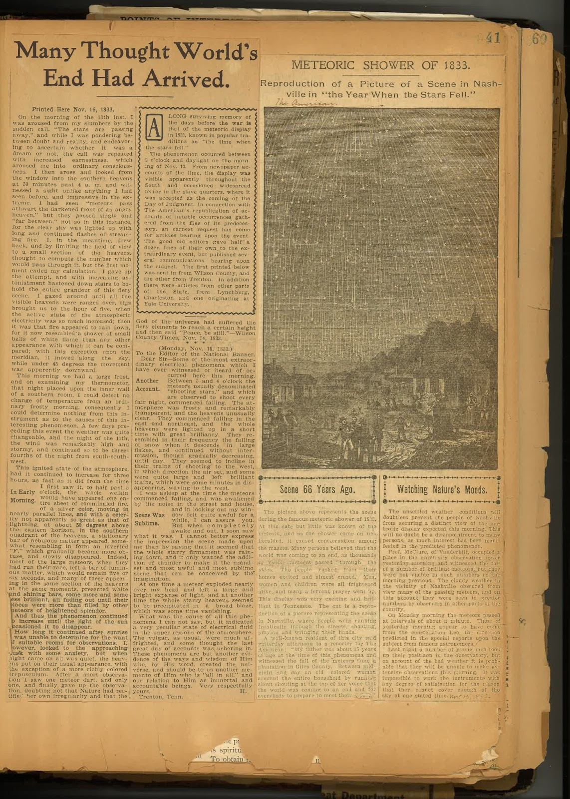 How to scrapbook newspaper clippings -  Many Persons Believed That The World Was Coming To An End As Thousands Of Visible Meteors Passed Through The Skies Unknown Newspaper Clipping