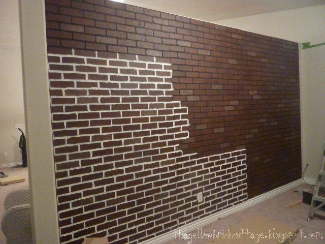 how i wanted to paint the brick on some extra pieces of paneling. Black Bedroom Furniture Sets. Home Design Ideas