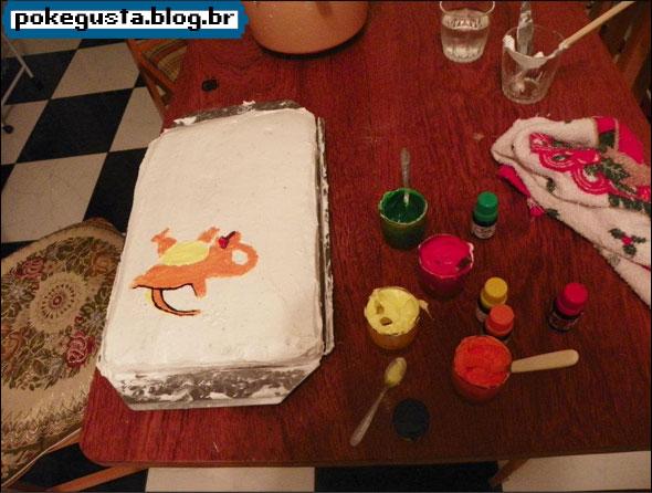 como fazer bolo do charmander
