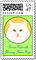 White Forest Cat w/ Glowing Green Eyes Postage Stamp