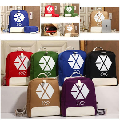 K - POP BACKPACK EXO SERIES ( 2 IN 1 SET ) - BLUE , RED , KHAKI , GREEN