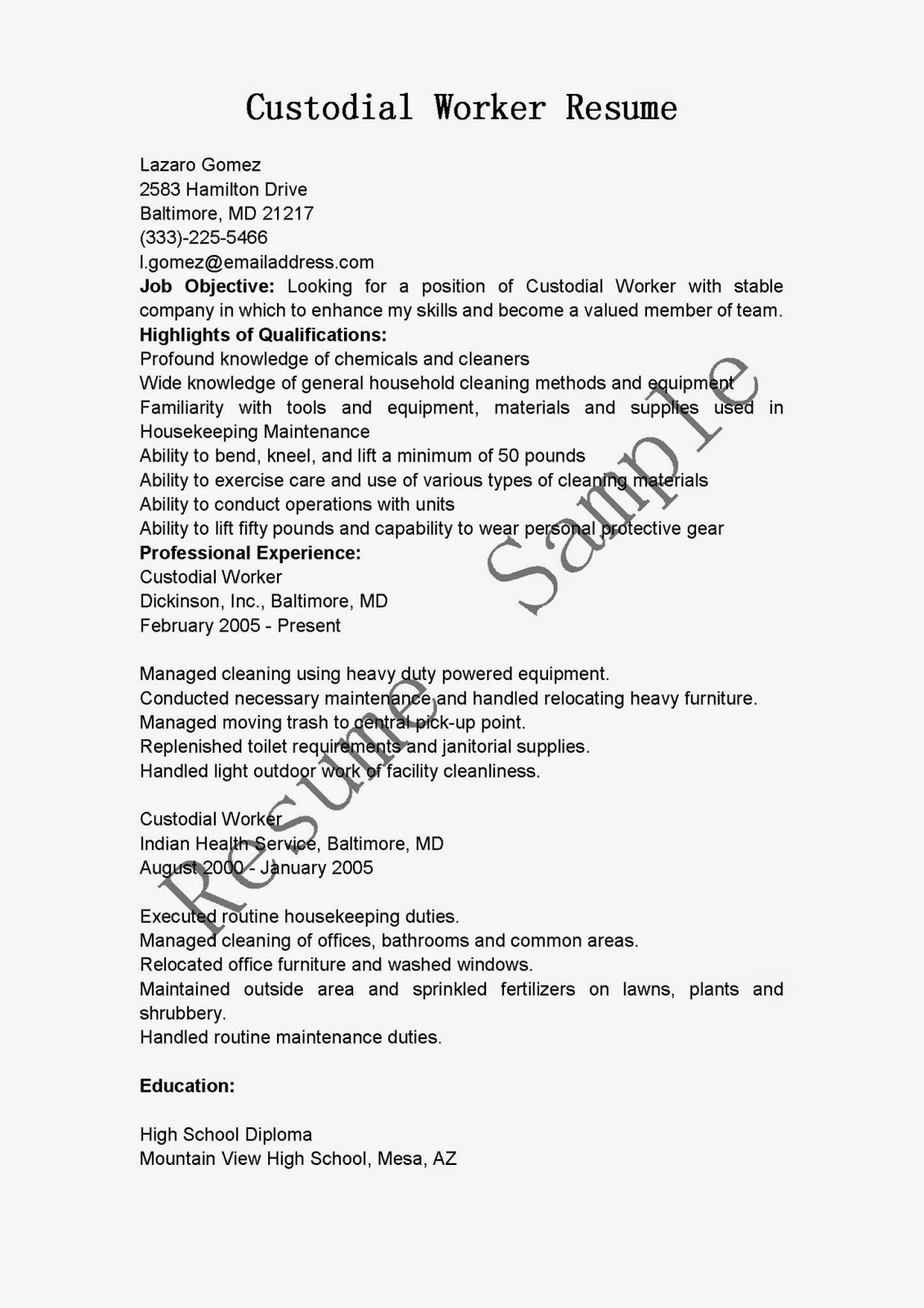 Sample Custodian Cover Letter Resume Example Of