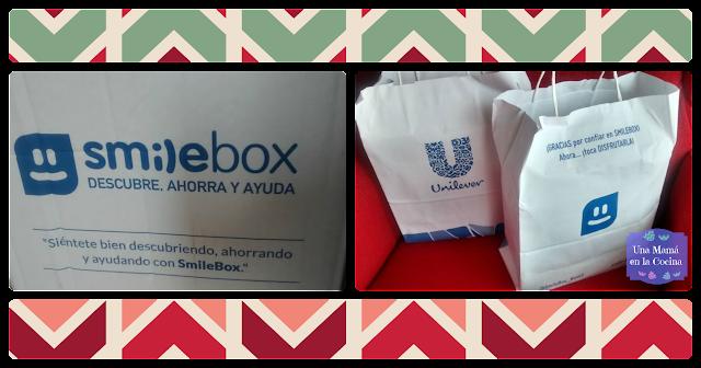 Foto de caja blanca Smilebox y bolsas