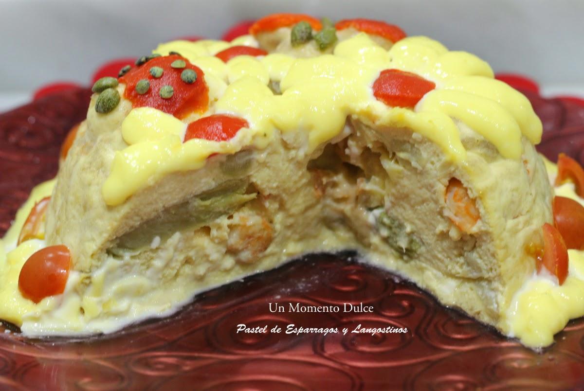Un momento dulce pastel de esp rragos y langostinos for Cocinar xoubas