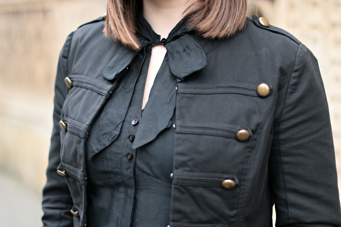 military blazer bow blouse