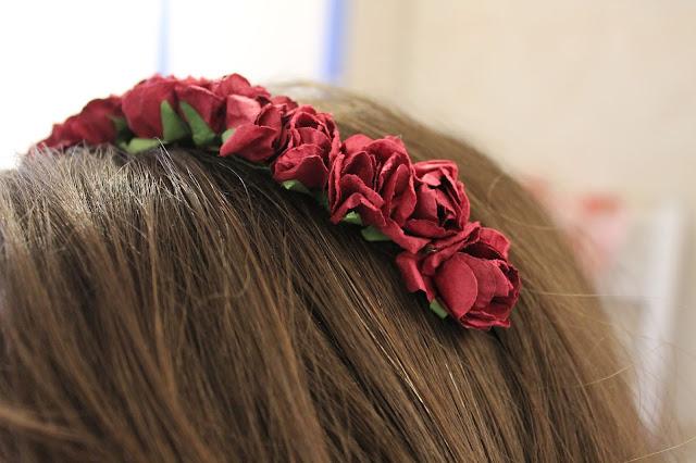 DIY flower headband being worn