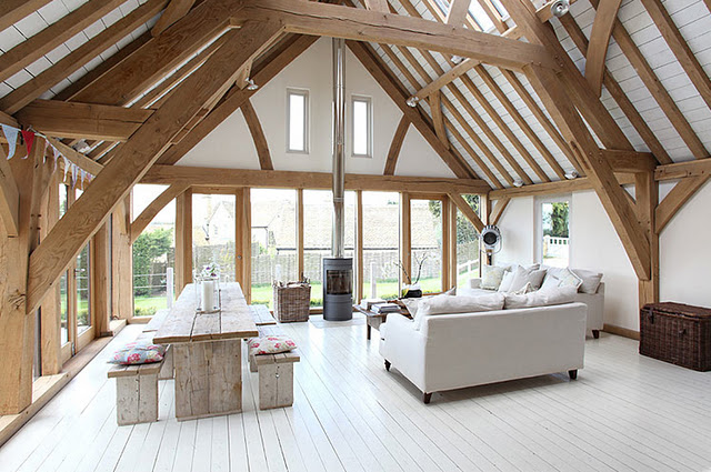 Country style chic exposed timber beams for House plans with exposed beams