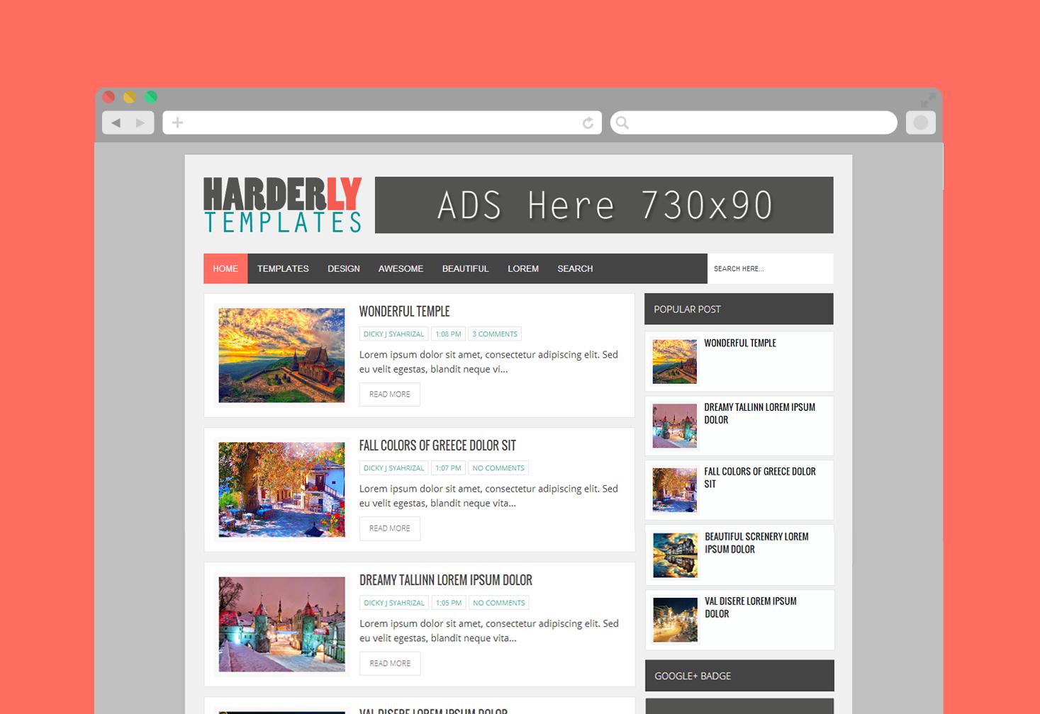 Template Blogspot Harderly Responsive tin tức đẹp