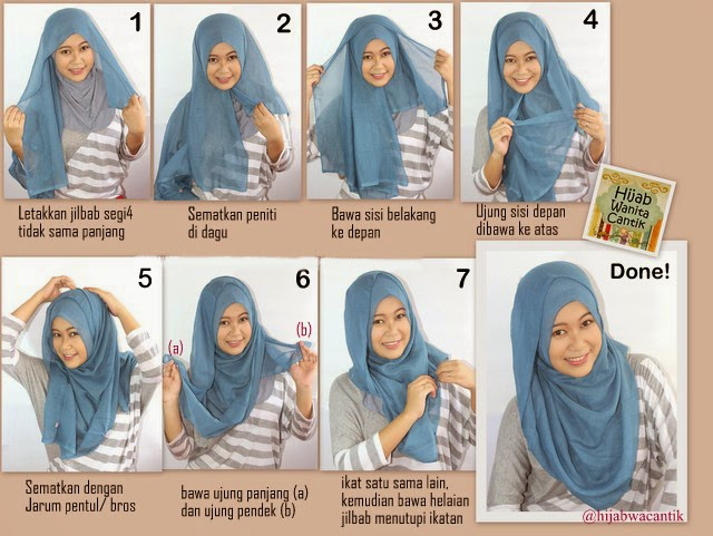 Cara Memakai Jilbab Segi Empat Sederhana - Model Jilbab