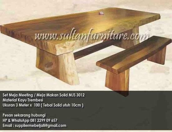 set meja makan sate trembesi panjang solid kayu besar dengan bangku panjang