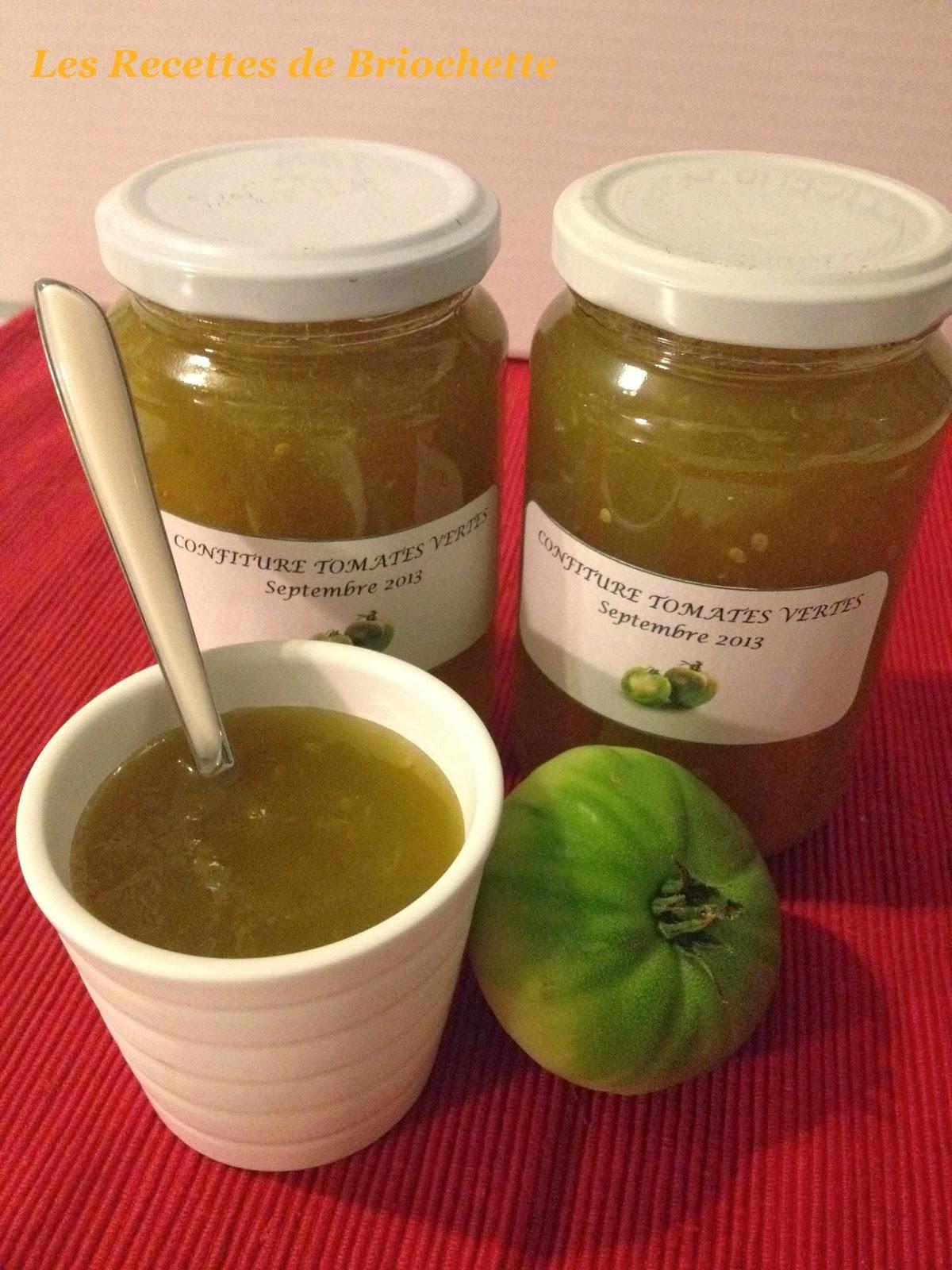 Les recettes de briochette confiture de tomates vertes - Cuisiner des tomates vertes ...