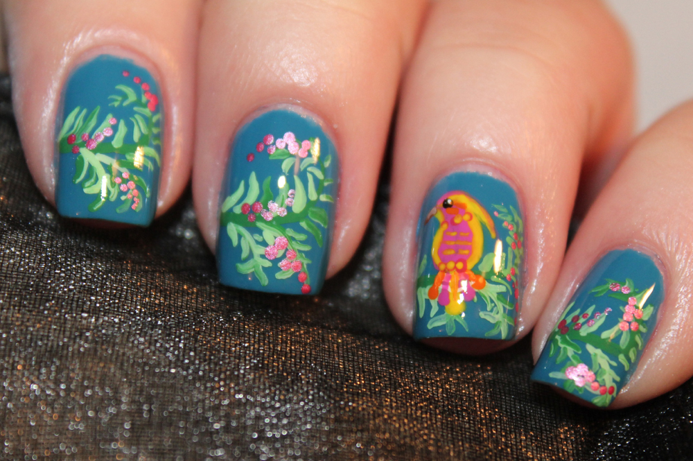 Tropical bird nail art - Set in Lacquer