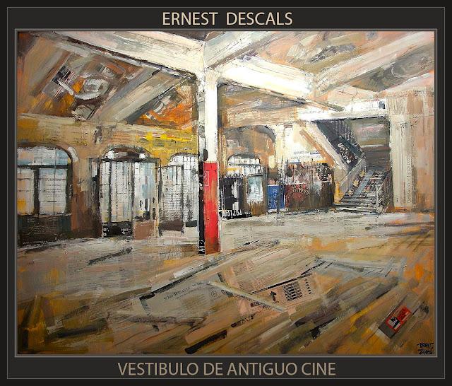 VESTIBULO DE ANTIGUO CINE-PINTURA-HISTORIA-INTERIORES-CUADROS-ARTISTA-PINTOR-ERNEST DESCALS