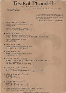 """""""FESTIVAL PIRANDELLO"""": MAYO-JUNIO 1984"""