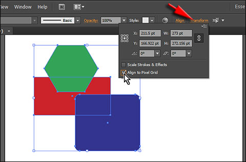 Align all selected objects to pixel grid in Adobe Illustrator