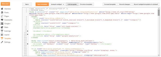 penampakan tampilan baru edit HTML blogspot, navigasi baru tampilan edit HTML blogger
