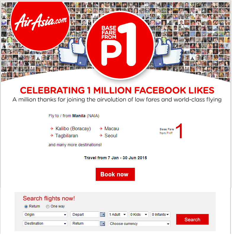 Air Asia: Celebrating 1 Million Facebook Likes with base fares from PHP1!