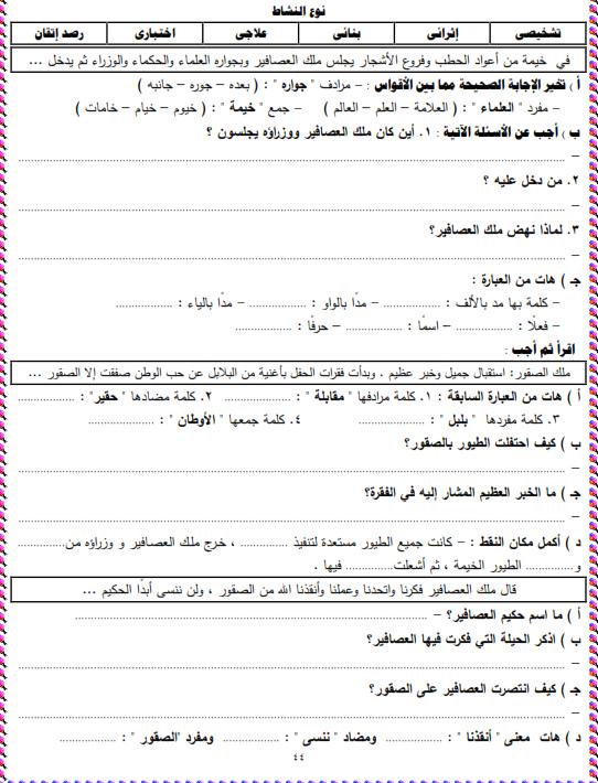 شيتات المجموعة المدرسية لمادة اللغة العربية للصف الثالث الابتدائى على هيئة صور للمشاهدة والتحميل The%2Bthird%2Bunit%2B3%2Bprime_011