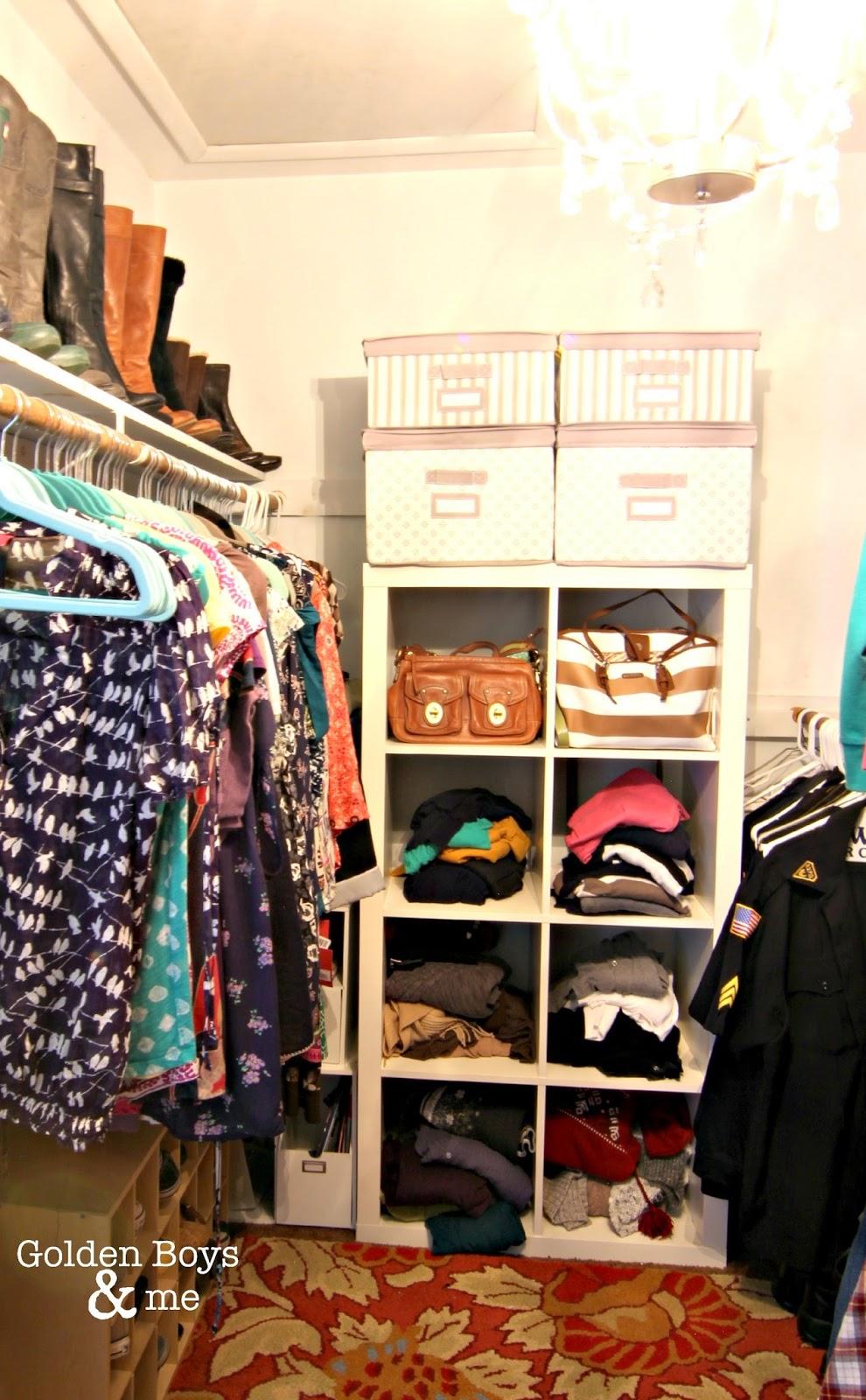 Kallax shelving unit in master closet-www.goldenboysandme.com