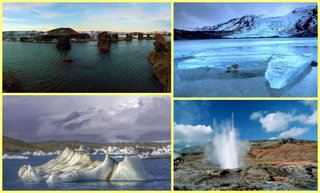 Lagos Mývatn y Jökulsárlón; Glaciar Eyjafjallajökull; geiser Valle Haukadalur
