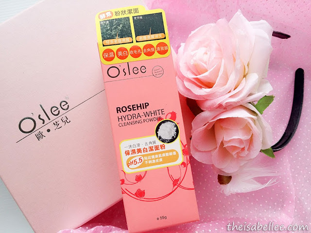 O'slee Rosehip Hydra-White Cleansing Powder in box