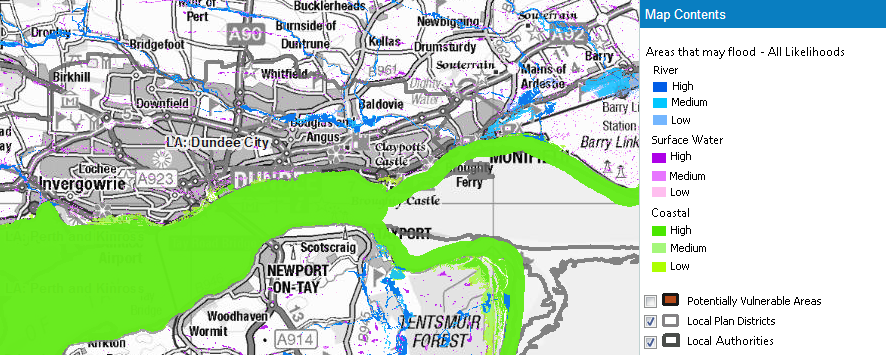 Flood Risk Map Tay Estuary 2014