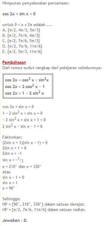 Rumus Dan Contoh Soal Matematika Contoh Soal Dan Materi Trigonometri Sma