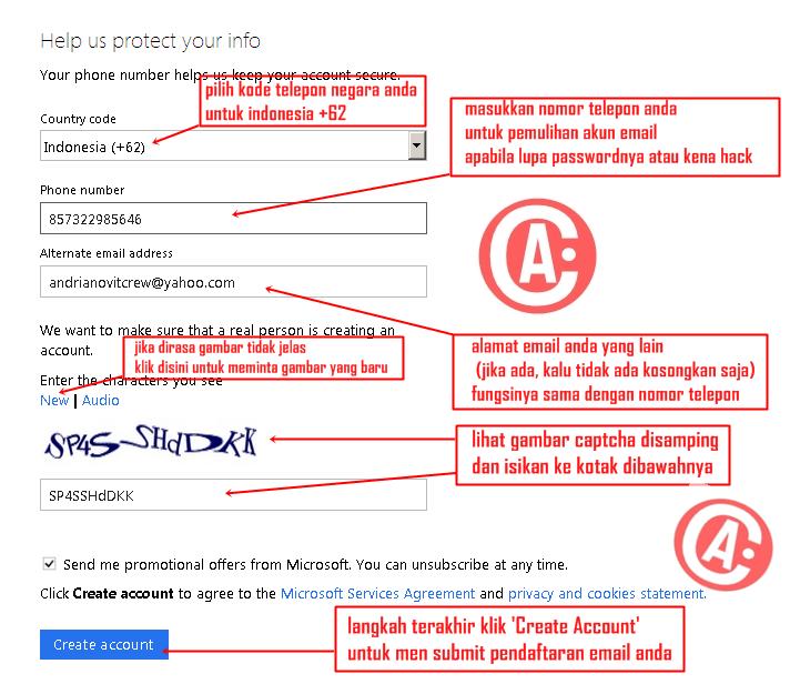 cara membuat / mendaftar email baru di hotmail - cara mengisi form 2
