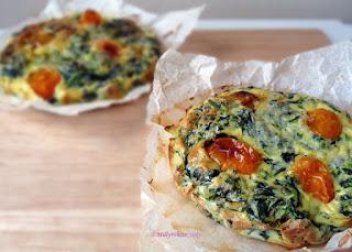 Spinach, Tomato & Parmesan Quiche 173 calories