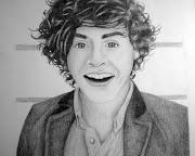 Fiz um retrato do Harry Styles (One Direction) na minha aula de desenho!
