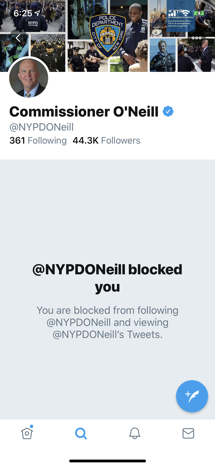Corrupt NYPD PC O'Neill Blocks me on Twitter