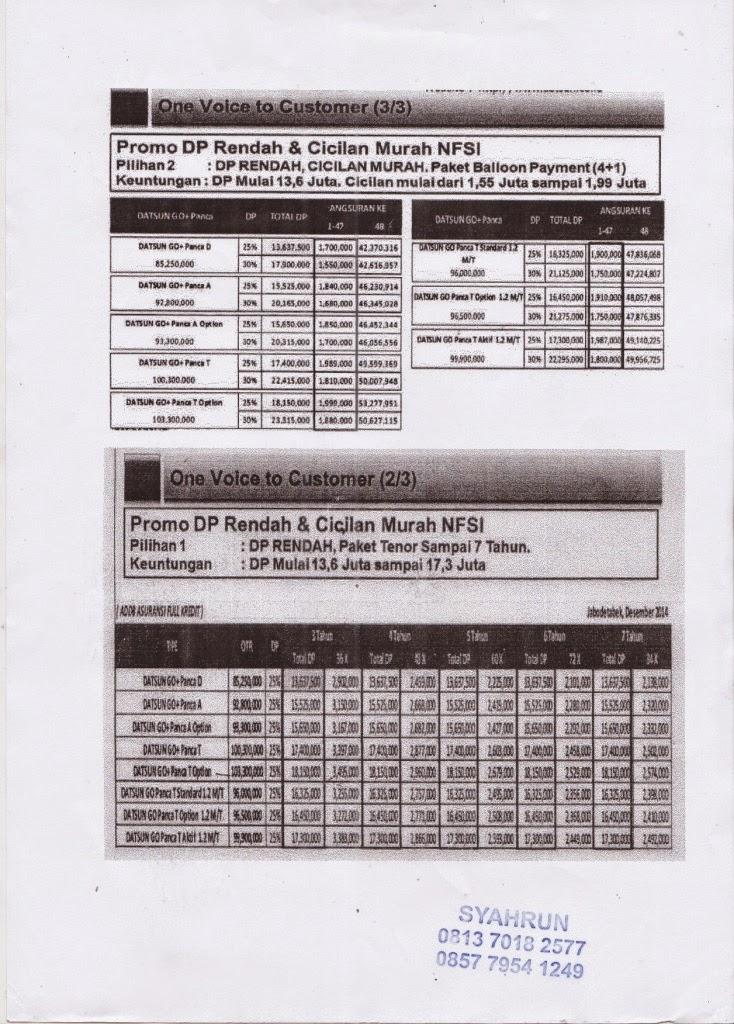 Promo Datsun DP Rendah dan Cicilan Murah NFSI