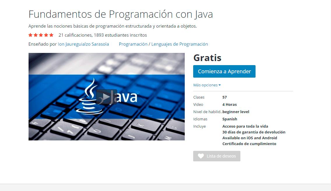 Curso Fundamentos de Programación con Java