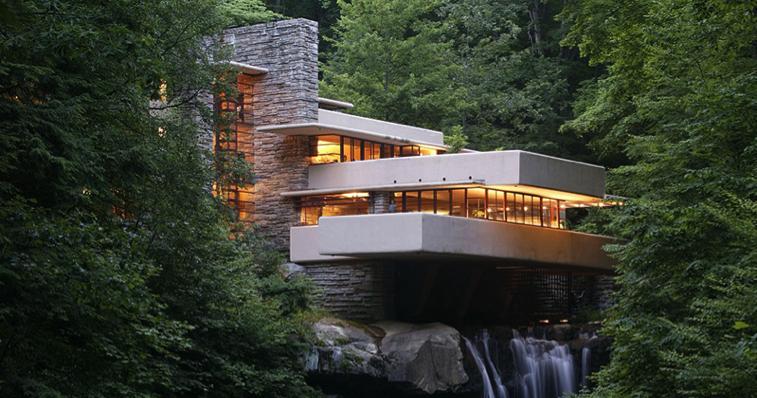 Casa da cascata de frank lloyd wright e os maravilhosos for Frank lloyd wright casa della prateria