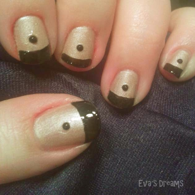 Nails of the week - Nail art design: Black French - Türkis, Nude