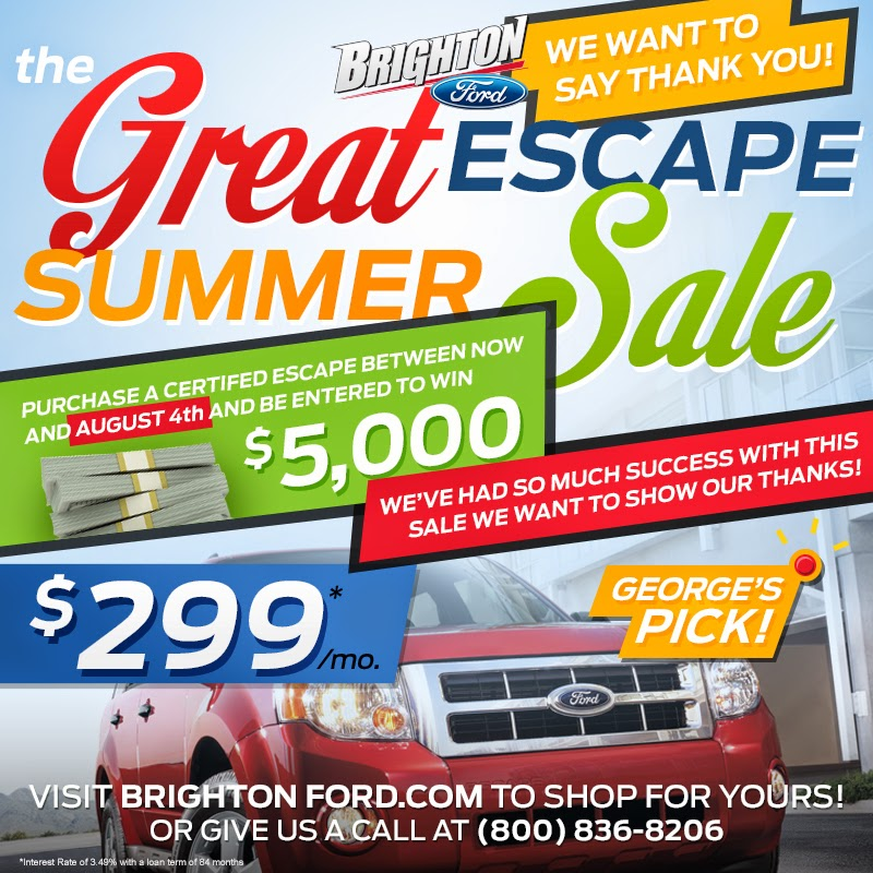 Win $5,000 from the Brighton Ford Great Escape Summer Sale!