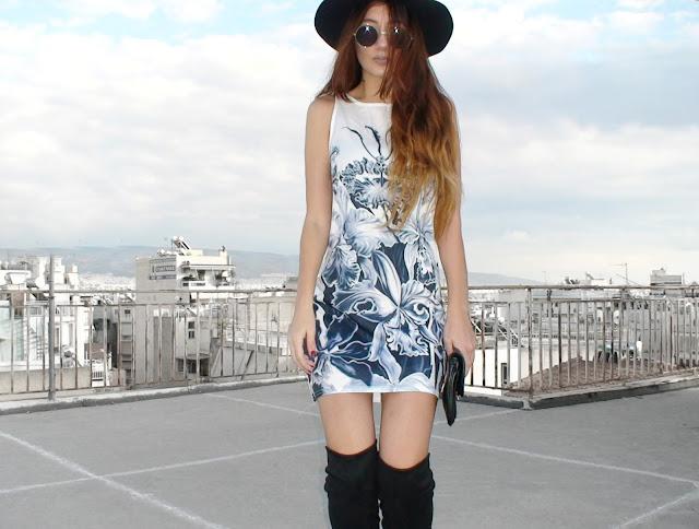 mini dress otk boots