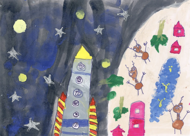 Painting by Agastya Mehta (5 years) - part of Khula Aasmaan by Indiaart.com - Children's Art Exhibition - Edition I