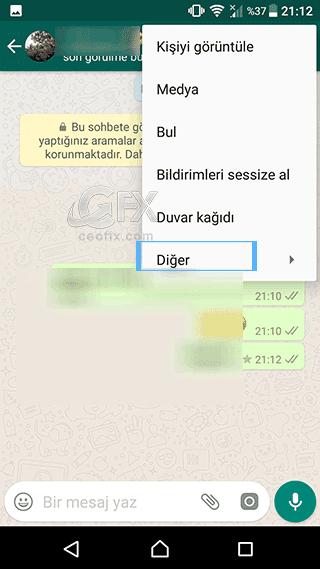 whatsapp sohbet silme