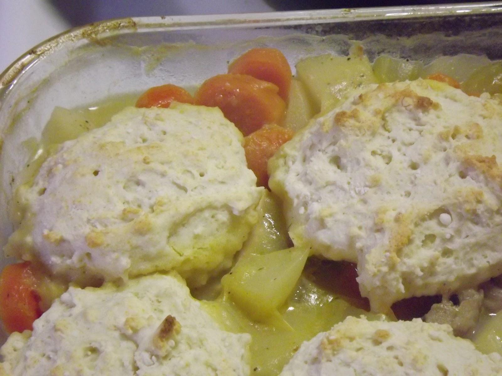 ... , cream of chicken soup, chicken broth, salt, pepper, biscuit mix