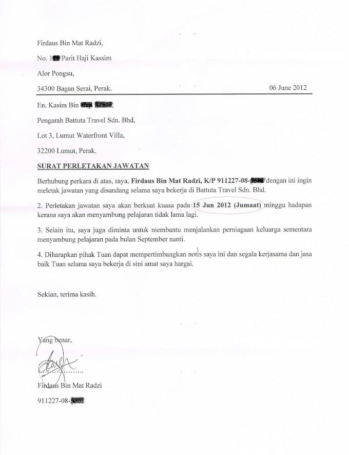 #3 Wordless Wednesday : Surat Letak Jawatan