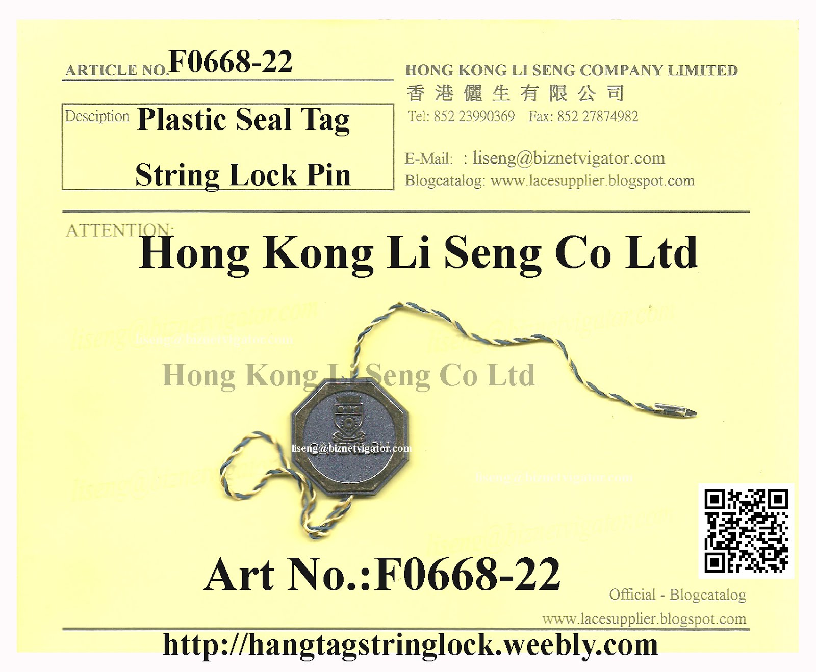 SPECIAL HEXAGONAL PLASTIC SEAL TAG METAL PIN