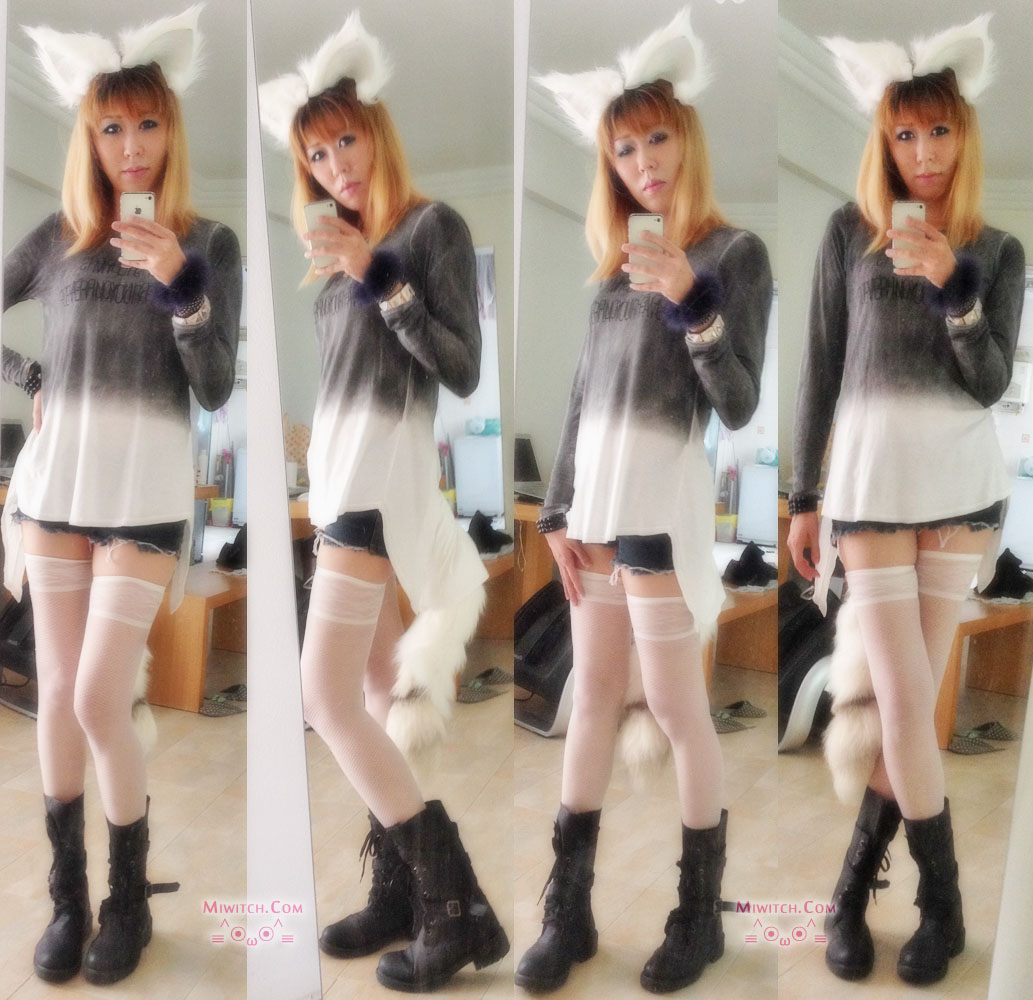 Foxy OOTD white fox ears & tails cosplay halloween dressup