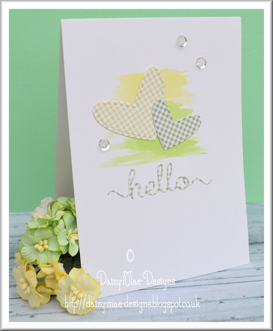 Gingham, hearts, yellow, green