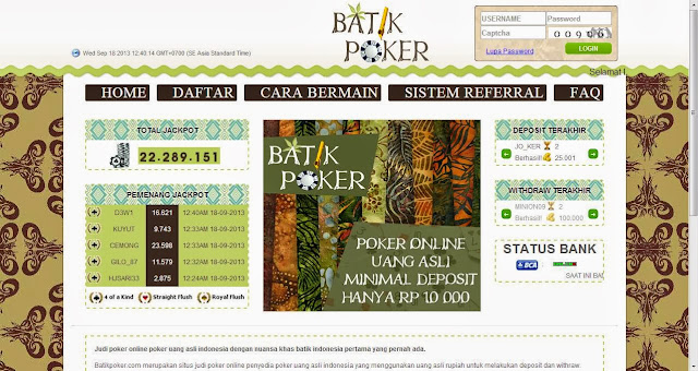 Daftar Poker Online Uang Asli Batikpoker.com