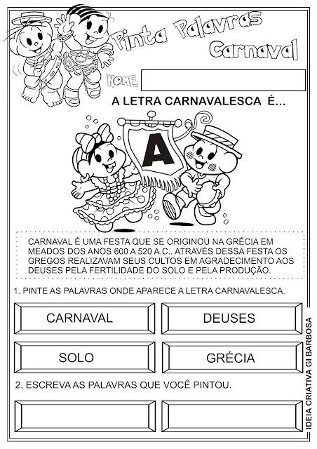 Atividade Pinta Palavras Carnaval