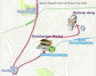 map to namdaemum, myeong-dong, seoul