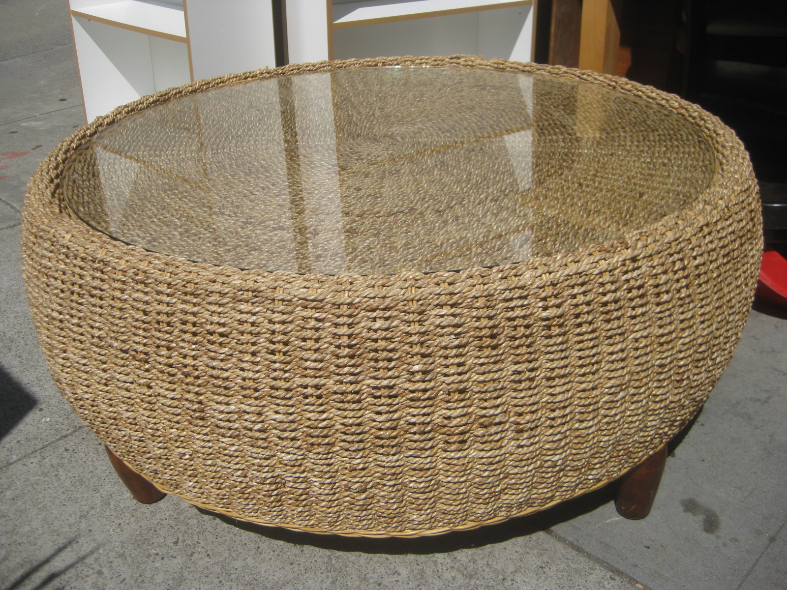 Uhuru furniture collectibles sold wicker drum coffee table 70 Rattan round coffee table