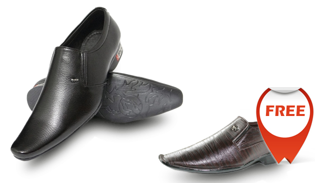 Twin Brother Offer! Buy Black Shoes @ Rs 549 & Get Brown Shoes FREE