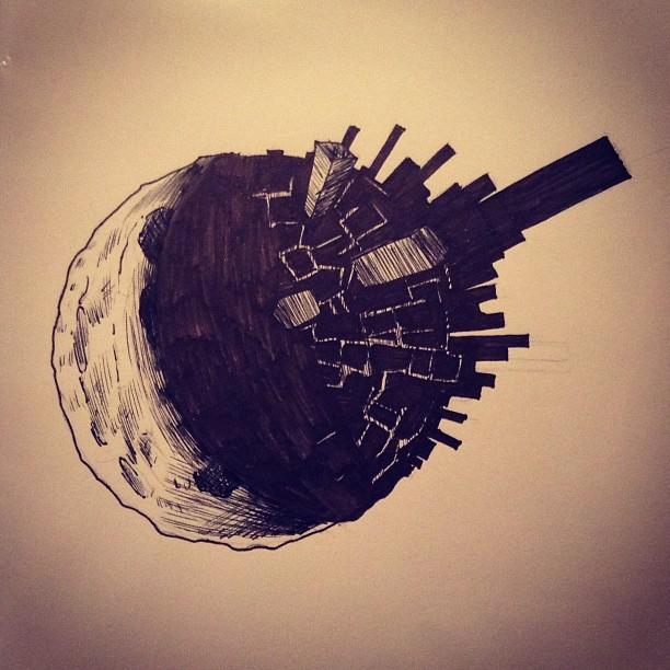 City On The Dark Side Of Moon Illustration